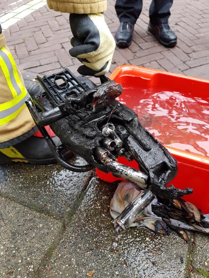 Accu van een fiets die brand heeft veroorzaakt